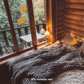 Et pour fêter cette nouvelle saison cocoon, lové chez soi en regardant les feuilles 🍂 tomber, nous vous proposons l'offre d'#automne2021 pour changer de literie 🍁 sur www.lematelasvert.fr